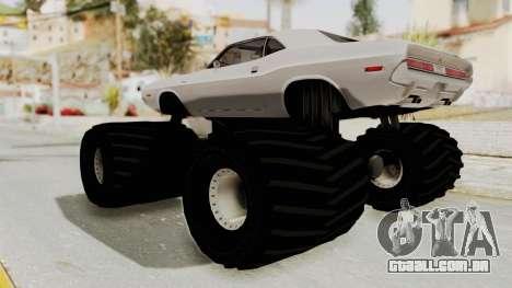 Dodge Challenger 1970 Monster Truck para GTA San Andreas vista direita