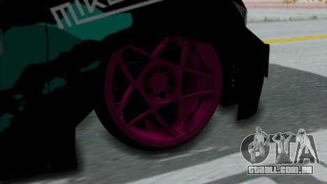 Toyota Vellfire Miku Pocky Exhaust Final Version para GTA San Andreas traseira esquerda vista