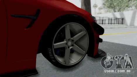 BMW M4 F82 Race Tune para GTA San Andreas traseira esquerda vista