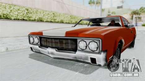 GTA Vice City - Sabre Turbo (Unsprayable) para GTA San Andreas traseira esquerda vista