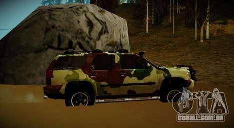 Chevrolet Tahoe LTZ v2 Camofluge para GTA San Andreas traseira esquerda vista