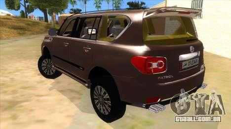 Nissan Patrol 2016 para GTA San Andreas traseira esquerda vista