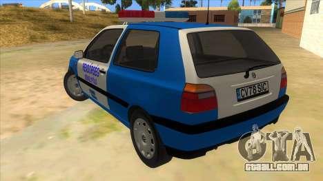 Volkswagen Golf 3 Police para GTA San Andreas traseira esquerda vista