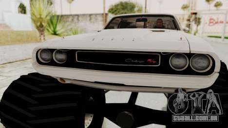 Dodge Challenger 1970 Monster Truck para GTA San Andreas vista traseira