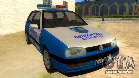 Volkswagen Golf 3 Police para GTA San Andreas vista traseira
