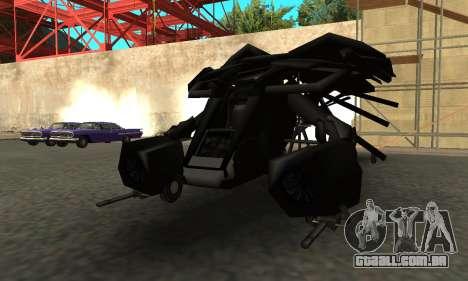 The Dark Knight Rises BAT v1 para GTA San Andreas traseira esquerda vista
