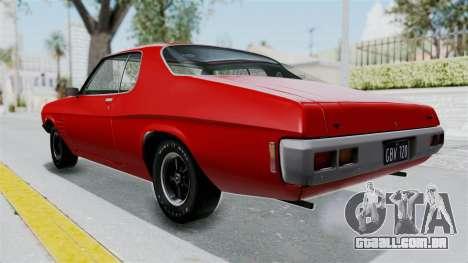Holden Monaro GTS 1971 AU Plate HQLM para GTA San Andreas traseira esquerda vista