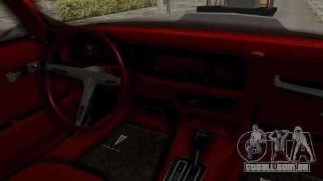 Pontiac Firebird 1970 Monster Truck para GTA San Andreas vista interior