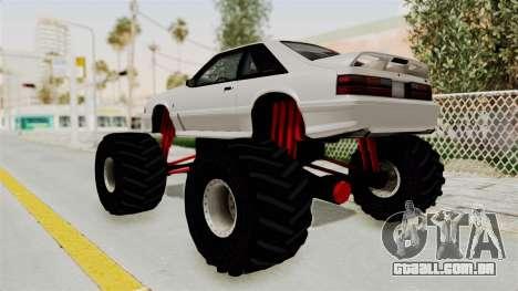 Ford Mustang 1991 Monster Truck para GTA San Andreas esquerda vista