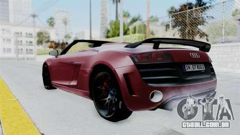 Audi R8 Spyder 2014 LB Work para GTA San Andreas esquerda vista