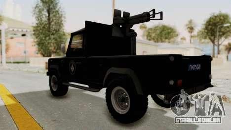 Land Rover Defender SAJ para GTA San Andreas esquerda vista