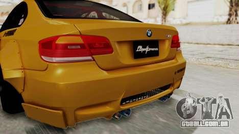 BMW M3 E92 Liberty Walk para GTA San Andreas vista inferior
