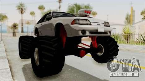 Ford Mustang 1991 Monster Truck para GTA San Andreas vista direita
