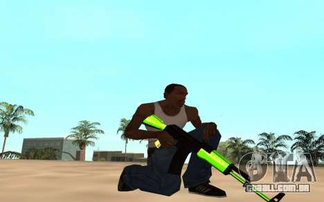 Green chrome weapon pack para GTA San Andreas quinto tela