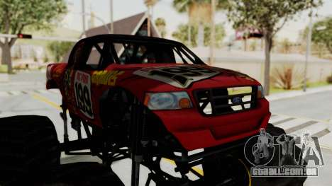 Pastrana 199 Monster Truck para GTA San Andreas vista traseira