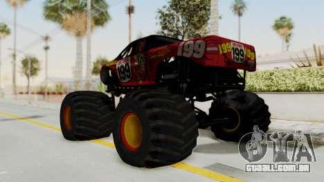 Pastrana 199 Monster Truck para GTA San Andreas esquerda vista