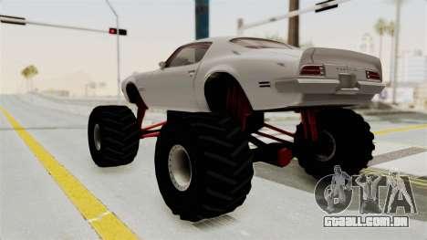 Pontiac Firebird 1970 Monster Truck para GTA San Andreas esquerda vista