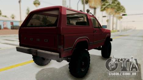 Ford Bronco 1985 Lifted para GTA San Andreas esquerda vista