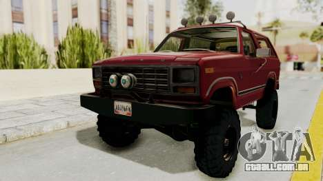 Ford Bronco 1985 Lifted para GTA San Andreas vista direita