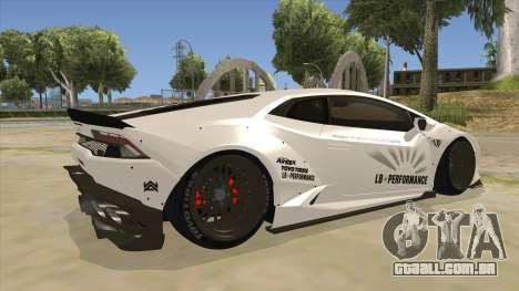 Lamborghini Huracan Liberty Walk para GTA San Andreas vista direita