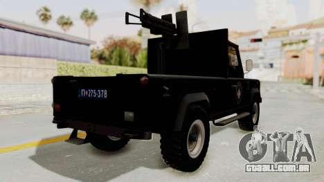 Land Rover Defender SAJ para GTA San Andreas traseira esquerda vista