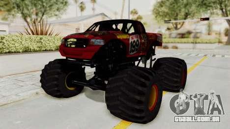 Pastrana 199 Monster Truck para GTA San Andreas traseira esquerda vista