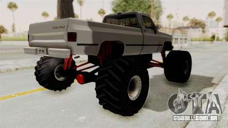 Chevrolet Silverado Classic 1985 Monster Truck para GTA San Andreas traseira esquerda vista