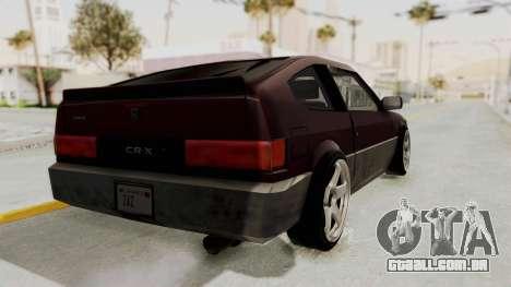 Blista CRX para GTA San Andreas traseira esquerda vista
