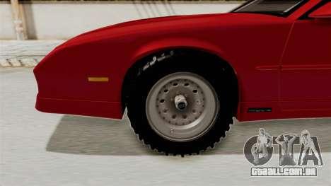 Chevrolet Camaro 1990 IROC-Z Rusty Rebel para GTA San Andreas vista traseira