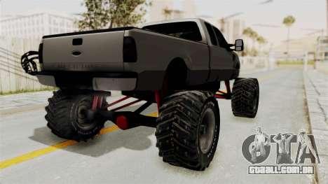 Ford F-350 Super Duty Monster Truck para GTA San Andreas traseira esquerda vista