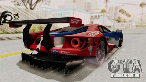 Ford GT 2016 LM para GTA San Andreas traseira esquerda vista