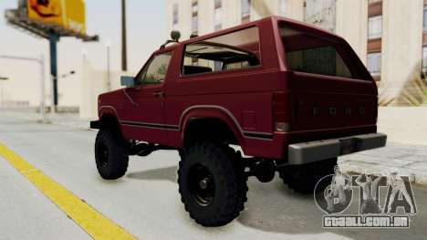 Ford Bronco 1985 Lifted para GTA San Andreas traseira esquerda vista
