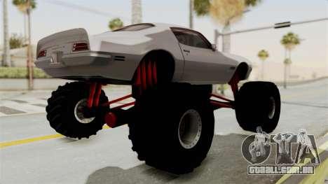 Pontiac Firebird 1970 Monster Truck para GTA San Andreas vista direita