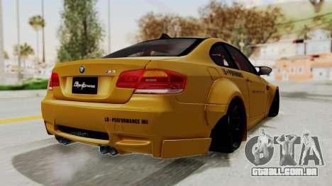 BMW M3 E92 Liberty Walk para GTA San Andreas vista direita
