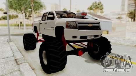 Chevrolet Silverado 2011 Monster Truck para GTA San Andreas traseira esquerda vista