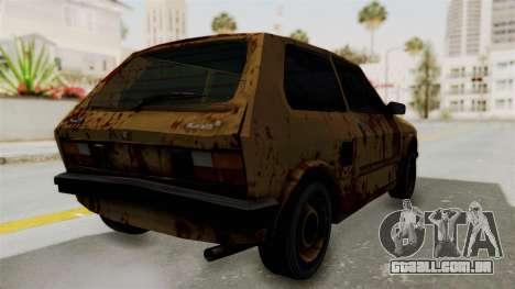 Zastava Yugo Koral 55 Rusty para GTA San Andreas traseira esquerda vista