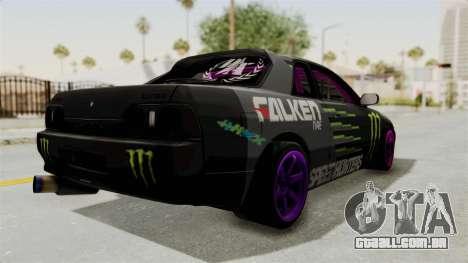 Nissan Skyline R32 Drift Monster Energy Falken para GTA San Andreas traseira esquerda vista