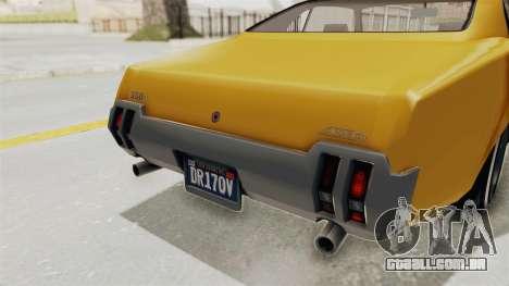 GTA 5 Declasse Sabre GT2 A IVF para GTA San Andreas interior