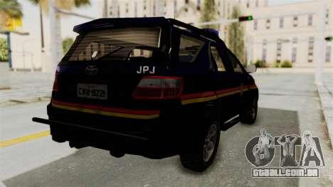 Toyota Fortuner JPJ Dark Blue para GTA San Andreas traseira esquerda vista