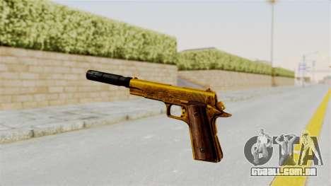 Silenced M1911 Gold para GTA San Andreas terceira tela