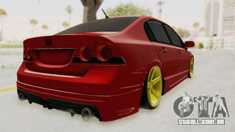 Honda Civic FD6 para GTA San Andreas traseira esquerda vista