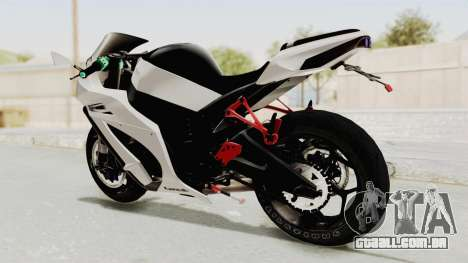 Kawasaki Ninja ZX-10R Modification para GTA San Andreas traseira esquerda vista