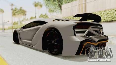 GTA 5 Pegassi Zentorno PJ para GTA San Andreas traseira esquerda vista