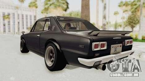 Nissan Skyline KPGC10 1971 Camber para GTA San Andreas esquerda vista