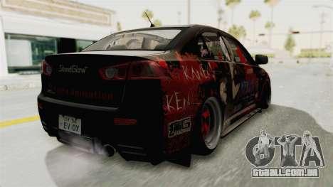 Mitsubishi Lancer Evolution X Ken Kaneki Itasha para GTA San Andreas traseira esquerda vista