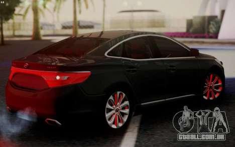Hyundai Grandeur 2015 STOCK para GTA San Andreas traseira esquerda vista