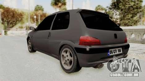 Peugeot 106 GTI Stock para GTA San Andreas traseira esquerda vista