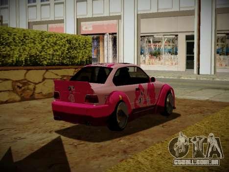 BMW M3 E36 Pinkie Pie para GTA San Andreas traseira esquerda vista