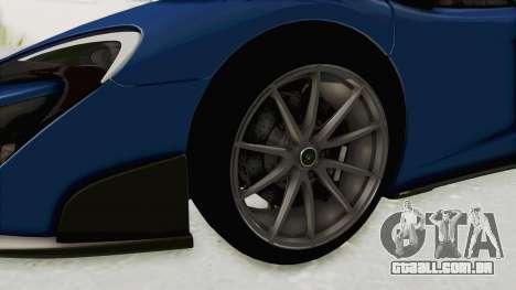 McLaren 675LT Coupe v1.0 para GTA San Andreas vista traseira