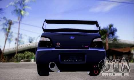 Subaru impreza WRX STi LP400 v2 para GTA San Andreas vista traseira